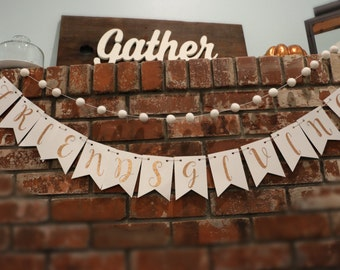 Friendsgiving Thanksgiving Holiday Copper Glitter Pearl Banner Garland {Ready to Ship} free shipping