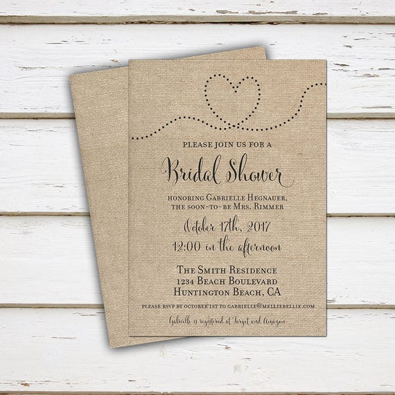 Printable Rustic Bridal Shower Invitation Burlap Country Bridal