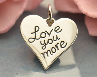 Love You More Sterling Silver Charm