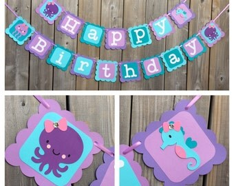 Under The Sea Happy Birthday banner, Under The Sea Party Decorations, Seahorse Octopus Jelly fish