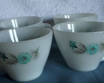 Vintage 4 Cups Fire King Milk Glass Bonnie Blue Flowers Oven Ware 13 Made in USA 1950s