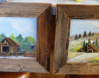 Vintage Set of Two 3D Oils On Boards/Homestead/ Trees Clouds/Barnwood Frames/ Signed D. Hicks