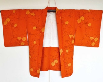 Japanese haori kimono - vermilion,flower