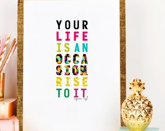 Wall decor fun art poster print, inspirational quote dorm poster, office poster, bright preppy colors motivational art quote wall decor