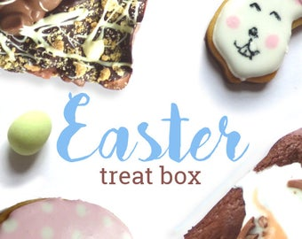 Easter Treat Box, Hamper including creme egg brownies, mini egg cookies, biscuits and malteser mash