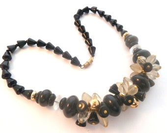 Vintage Chunky Black White And Gold Floral Design Statement Necklace.