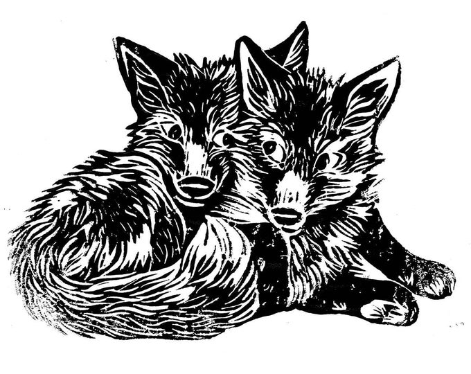 Fox Cubs Print - Cute Animal Foxes Print - Linocut Relief Print // Limited Edition Art