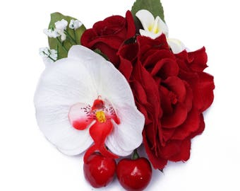 Cherries, Orchid & Rose Hair Flower Clip Retro Rockabilly Kitsch Pin Up 50s