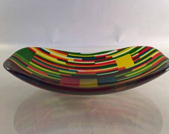 Yellow, Green, Red and Clear Fused Art Glass Bowl