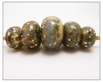 Handmade Lampwork Silvered Ivory Glass Bead Bracelet or Necklace Set with Fine Silver Detail - Nebula