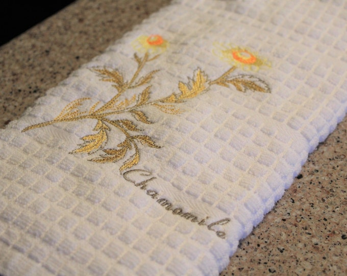 Kitchen Towel, Herbs, Housewarming Gift, Gift for Her, Embroidered Towel, Chamomile