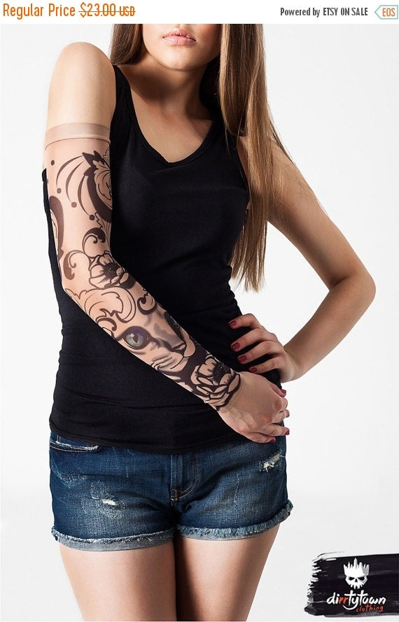 Unisex mystic cat mesh tattoo sleeve large by for Mesh tattoo shirt