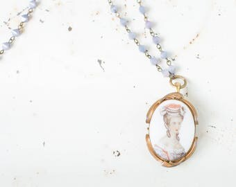 French Cameo Necklace with Amethyst Colored Beads