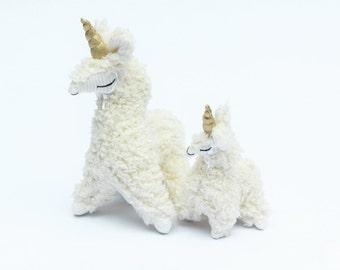 Llamacorn Family Set, Stuffed Llama, Llama Plush