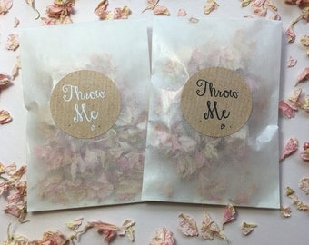 Biodegradable petal confetti individual packets light pink and ivory
