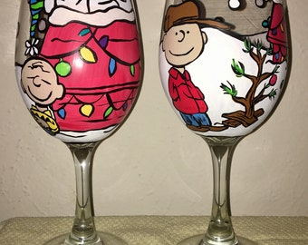Set of 2 Charlie Brown Christmas Inspired Hand Painted Wine Glasses