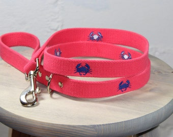 Crab Embroidered Dog Leash
