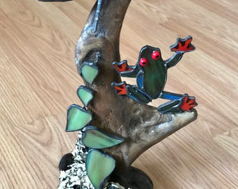 Treefrog, Stained Glass Sculpture