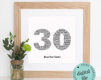 Personalised 30TH ANNIVERSARY Gift - Word Art - Printable Art - 30 Year Anniversary Gift - Anniversary Gift for Parents - Anniversary Card