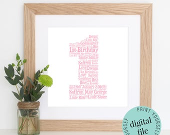 Personalised 1st BIRTHDAY GIFT - Printable Art - 1st Birthday Girl - Word Art - 1st Birthday Boy - Personalised Gift - Baby Gift