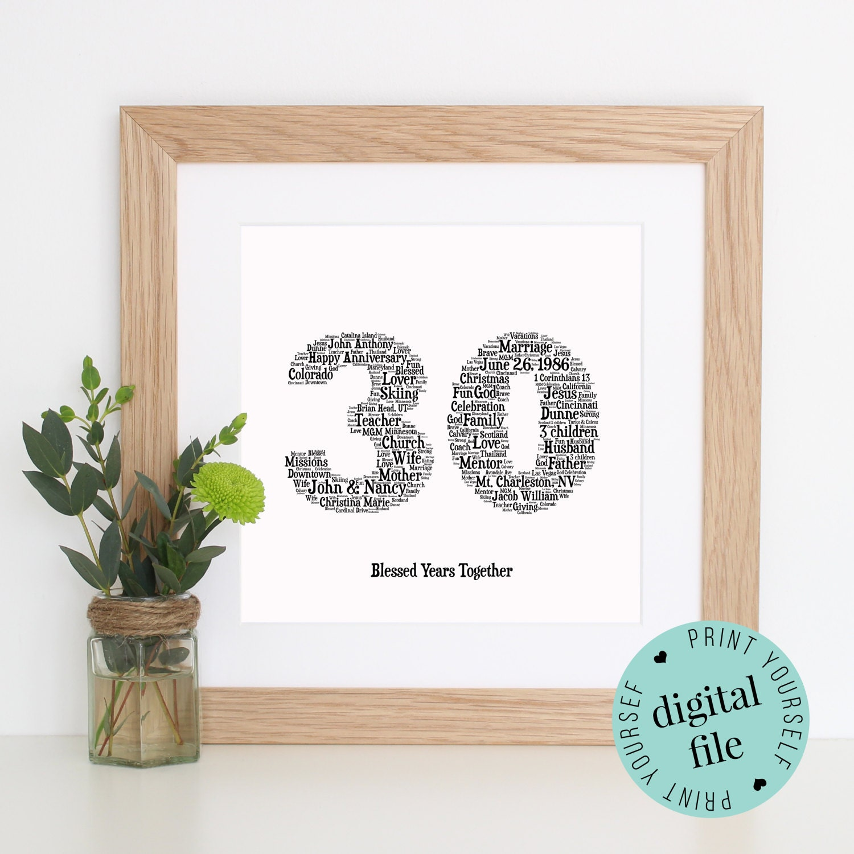 Gift For 30 Wedding Anniversary: Personalised 30TH ANNIVERSARY Gift Word Art Printable Art