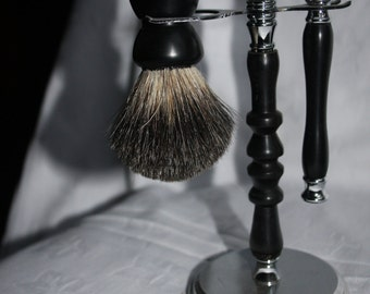 Wooden Shaving set, Ebony wood, Hand-turned