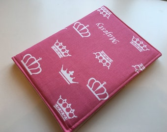 A5 covered notebook or diary. Pink princess fabric with small pink hearts lining - perfect back to school gift