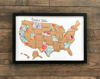Watercolor Scratch Off Map Rose Less Traveled United States Of America Made In