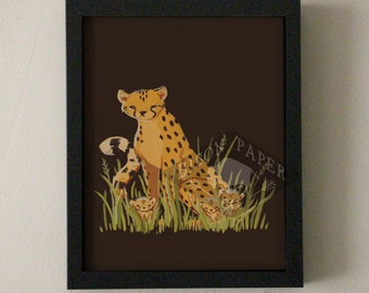 Cheetah and Cubs Print of Gouache Painting