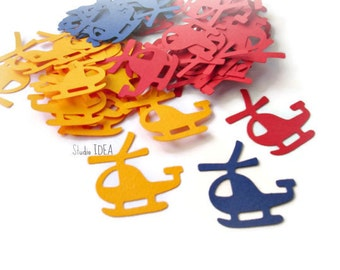 40 Primary Colors Helicopter Cut outs, Die cut, Confetti, Embellishments or CHOOSE YOUR COLORS - Set of 40 pcs