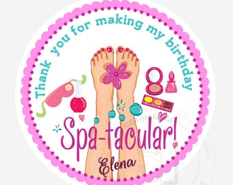 "Custom Spa-tacular Party Printable 2.5"" Tags-Personalized Beauty Theme Birthday 2.5 inches Tags- Stickers, DIY Spa Party Favor Tags"