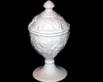 Vintage Compote, White Compote, Grape Design Compote, Dish, Pedestal Dish, Pedestal Compote, Porcelain Compote, Home Decor, Trinket Dish