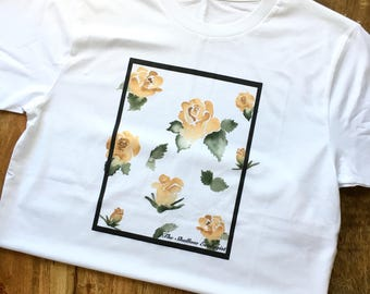 Organic Cotton Adult Unisex T-Shirt, Yellow Flower, Eco-Friendly Apparel