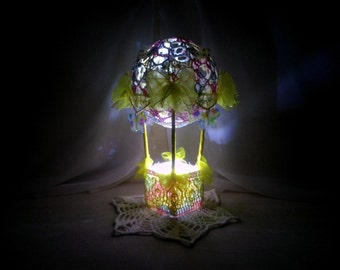 night light сrochet. Crochet lamp crochet ball  The lighting for the bedroom. Unusual night light in the nursery.  air balloon, gift  child