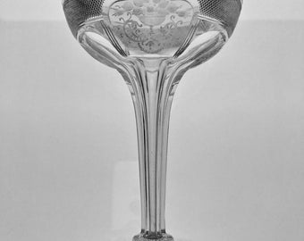 RARE! American Brilliant Period SINCLAIRE 'Adam' Hollow Stem Champagne Coupe Gorgeous Engraving 4 Pieces