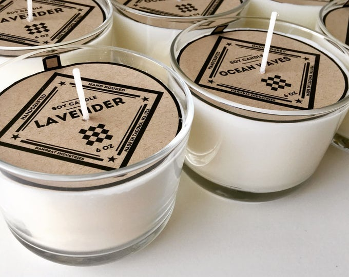 Soy Candle 6oz Hand poured assorted scents small candle 6 ounce candles wedding gifts party favors