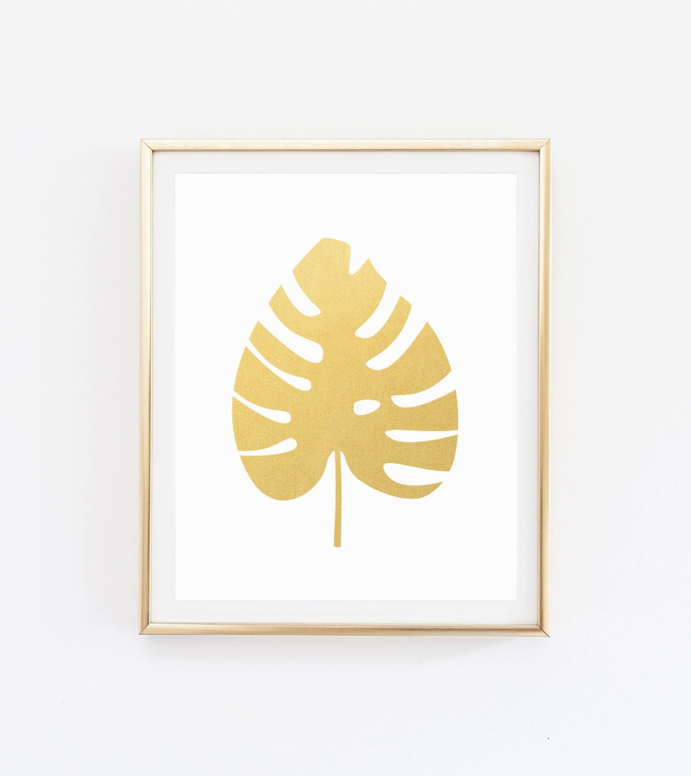 Wall Decor Gold Leaves : Monstera leaf gold print wall art