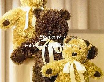 3 Teddy Bears Knitting Pattern DK/ 8ply yarn Baby Boy Girl Stuffed Toy Knitting Pattern Instant Download Toy Pattern PDF - 295