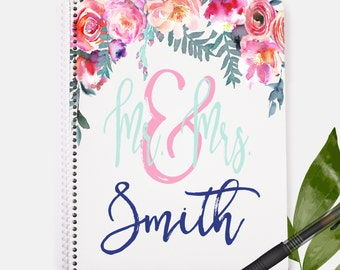 Mr and Mrs Notebook   Floral Print   Wedding Notebook   Wedding Gift   Personalized Notebook   Journals and Notebooks   Custom Notebook  