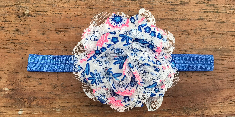 Blue And Neon Pink Chiffon Flower Headbandhair Clipgirls