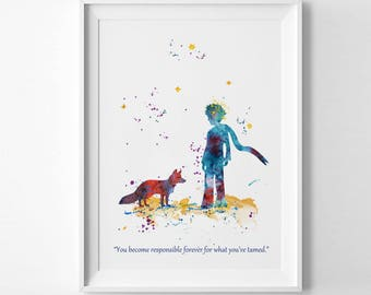The little prince watercolor print le petit prince poster Decoration le petit prince