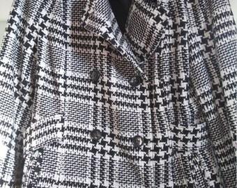 Vintage 90s Plaid Wool Peacoat