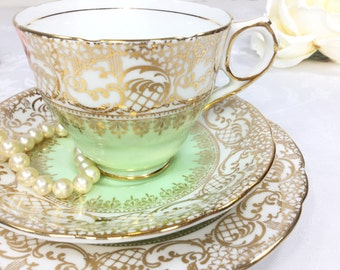 Mint Green Royal Stafford English Tea Trio, Gold Lace Bone China English Tea Cup, Saucer, Plate For Tea Time, Tea Party, Wedding. #A247