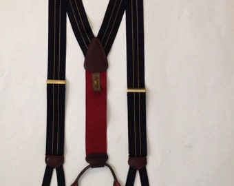 Trafalgar Suspenders Navy Blue Pin Stripe Suspenders Brace
