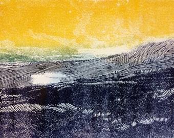 Yorkshire wall art, Whernside art print, Yorkshire three peaks original linocut, mountain art, purple, yellow blue landscape