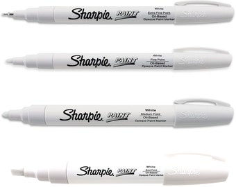 White Sharpie Paint Markers Oil Based; One Each of Extra Fine, Fine, Medium & Bold Point, Tip; Sharpie Paint Markers, Pens