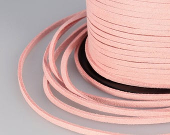 Baby Pink Suede Cord, 3x1mm; Soft Micro Fiber Faux Leather Velvet Suede Flat Lace, Cord, Thread, String, Rope; 100 Yard; Jewelry Making