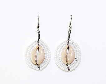 Kwetu White Beaded Shell Earrings