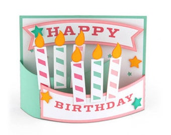 3D Curved Birthday Card , Happy Birthday , Candles , Kids , Men , Women , Adults , Teens , Stars