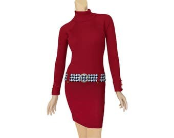 Crimson + Houndstooth Sweater Dress